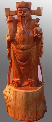 品名:红豆杉木雕财神产地