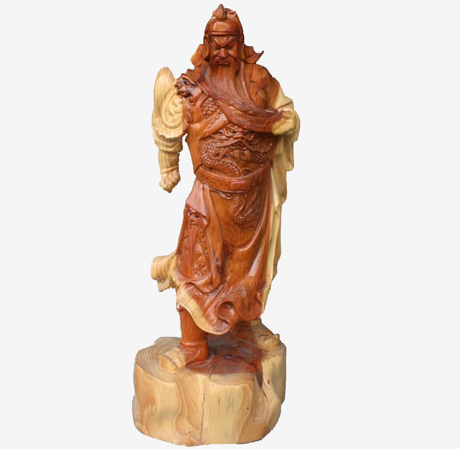 红豆杉木雕关羽-盆景奇石-中国园林网